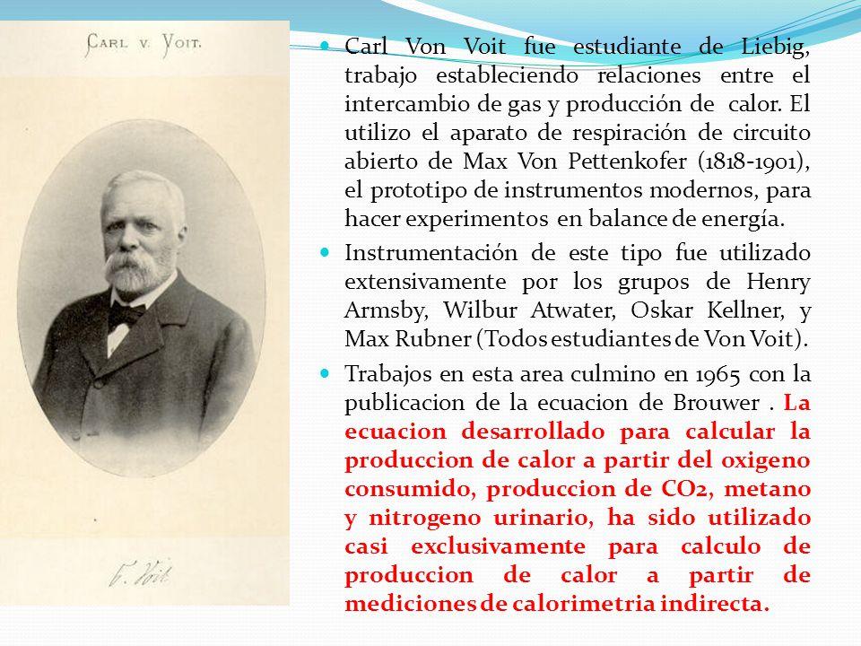 Carl Von Voit fue estudiante de Liebig, trabajo estableciendo relaciones entre el intercambio de gas y producción de calor. El utilizo el aparato de respiración de circuito abierto de Max Von Pettenkofer (1818-1901), el prototipo de instrumentos modernos, para hacer experimentos en balance de energía.
