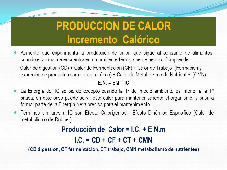 PRODUCCION DE CALOR Incremento Calórico