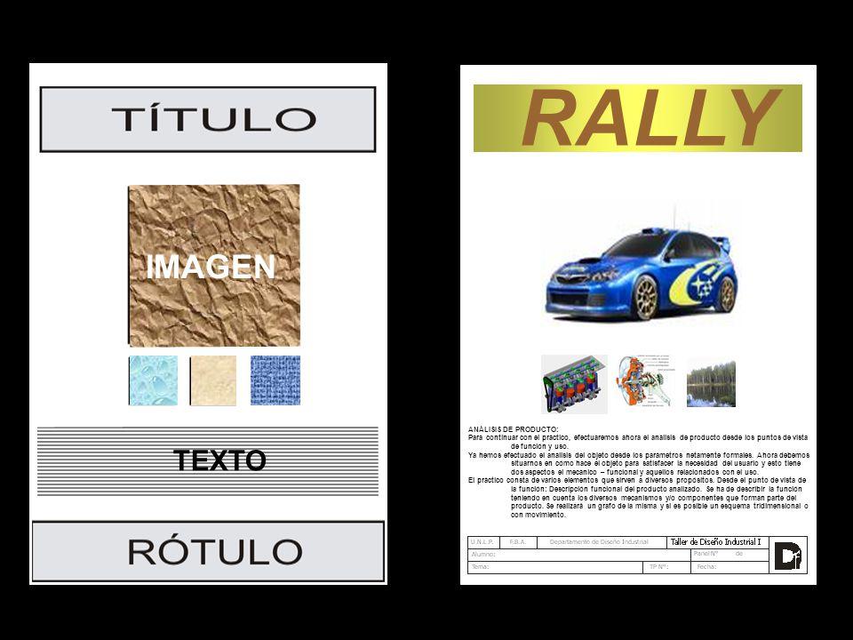 RALLY IMAGEN TEXTO ANÁLISIS DE PRODUCTO: