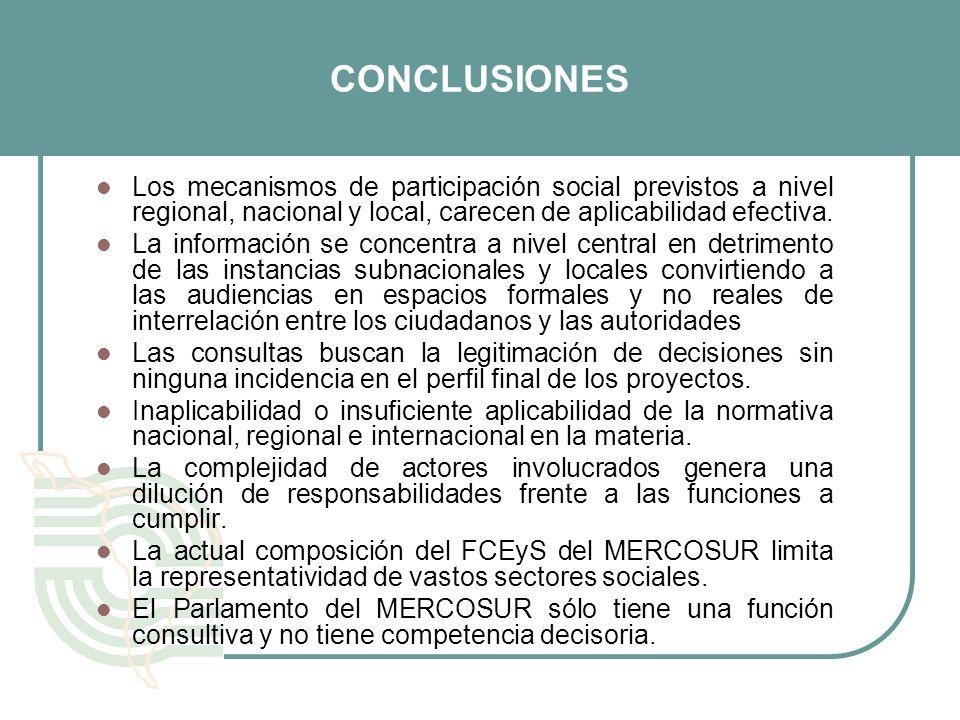 CONCLUSIONESLos mecanismos de participación social previstos a nivel regional, nacional y local, carecen de aplicabilidad efectiva.