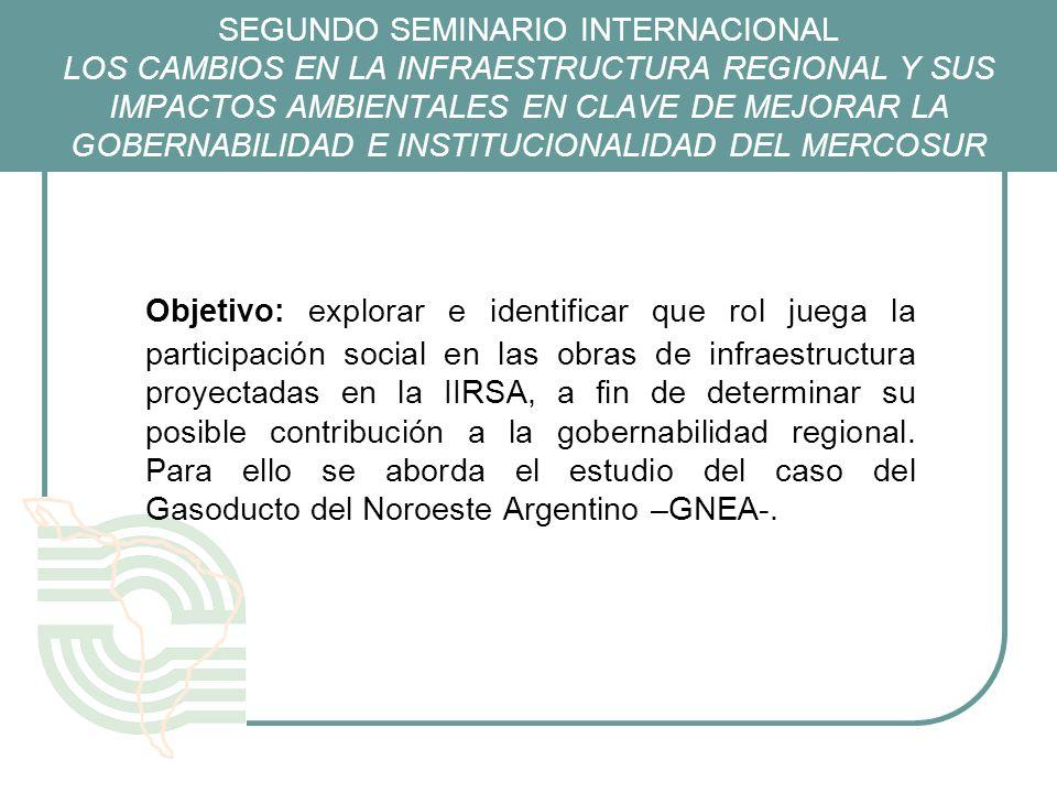 SEGUNDO SEMINARIO INTERNACIONAL LOS CAMBIOS EN LA INFRAESTRUCTURA REGIONAL Y SUS IMPACTOS AMBIENTALES EN CLAVE DE MEJORAR LA GOBERNABILIDAD E INSTITUCIONALIDAD DEL MERCOSUR