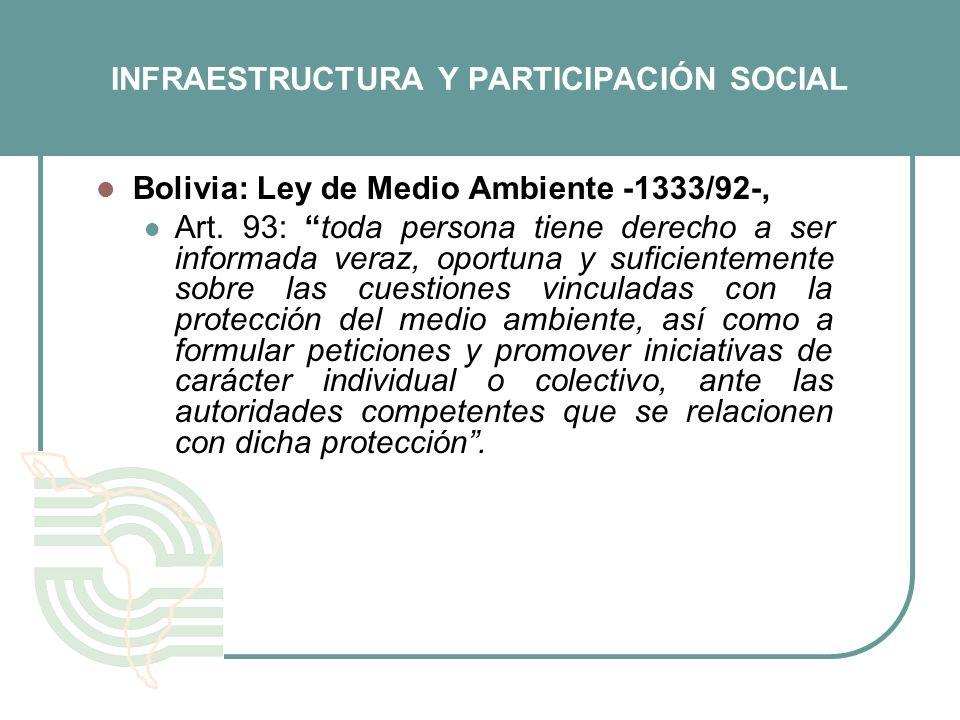 INFRAESTRUCTURA Y PARTICIPACIÓN SOCIAL