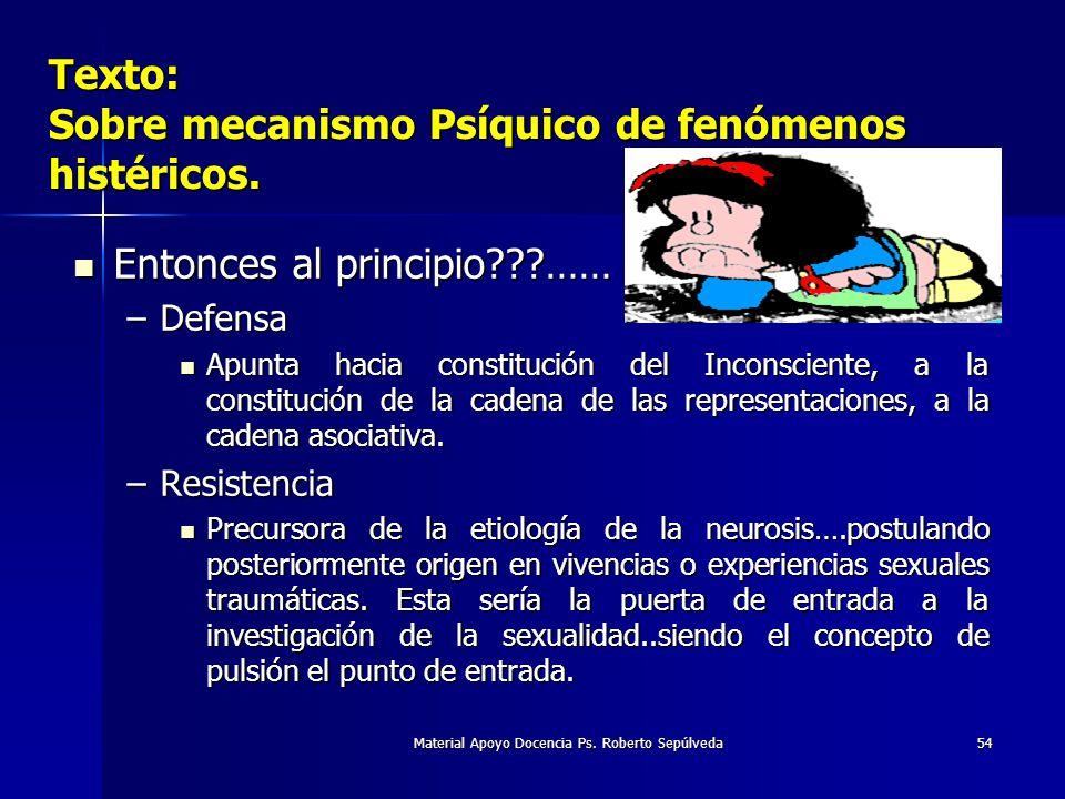 Texto: Sobre mecanismo Psíquico de fenómenos histéricos.