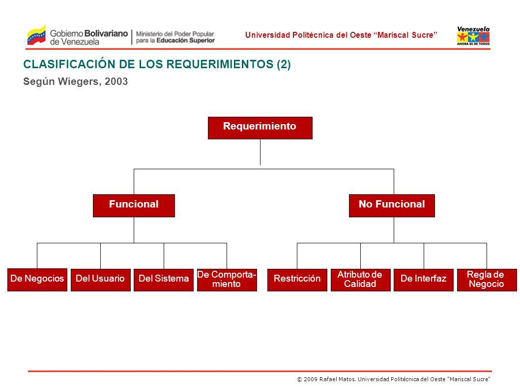 CLASIFICACIÓN DE LOS REQUERIMIENTOS (2)
