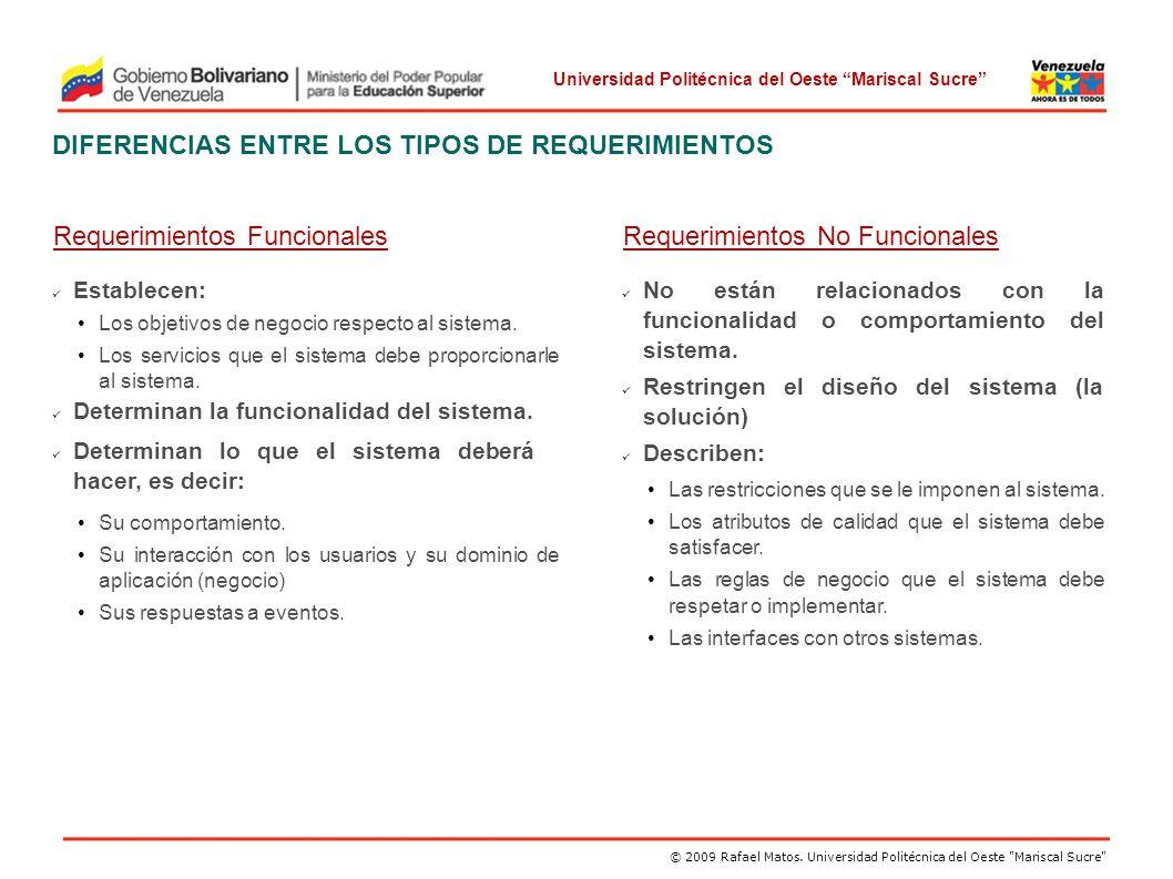 DIFERENCIAS ENTRE LOS TIPOS DE REQUERIMIENTOS