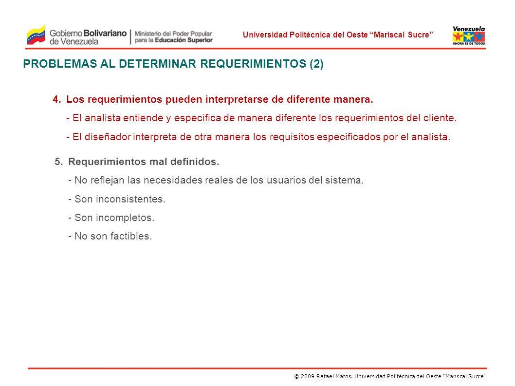 PROBLEMAS AL DETERMINAR REQUERIMIENTOS (2)