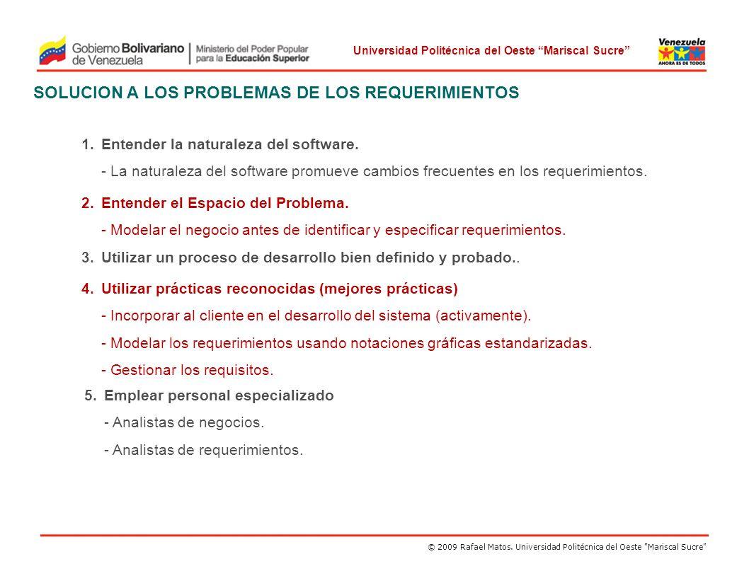 SOLUCION A LOS PROBLEMAS DE LOS REQUERIMIENTOS
