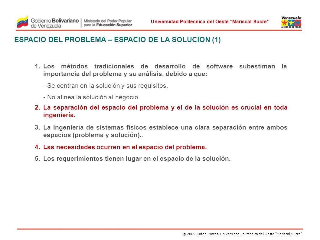 ESPACIO DEL PROBLEMA – ESPACIO DE LA SOLUCION (1)