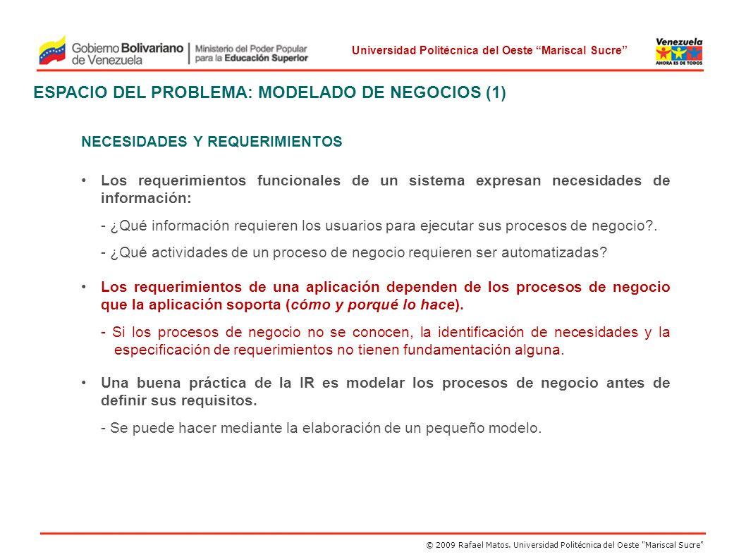 ESPACIO DEL PROBLEMA: MODELADO DE NEGOCIOS (1)
