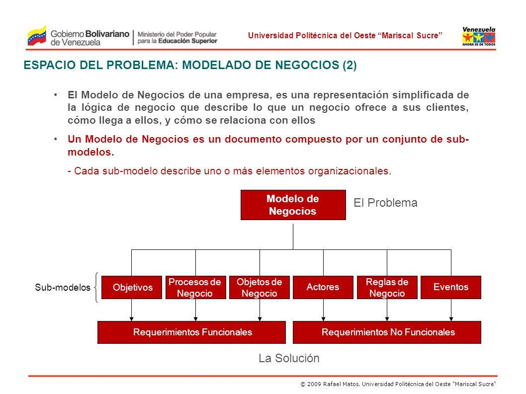 ESPACIO DEL PROBLEMA: MODELADO DE NEGOCIOS (2)