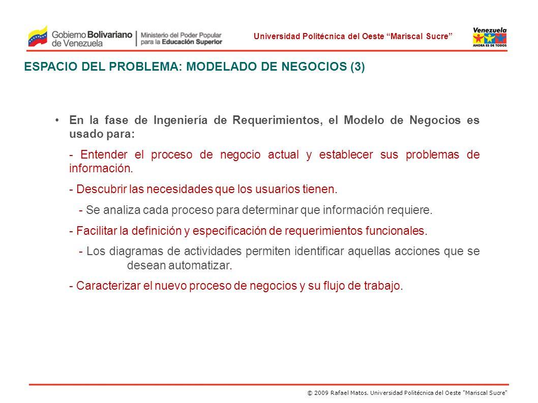 ESPACIO DEL PROBLEMA: MODELADO DE NEGOCIOS (3)