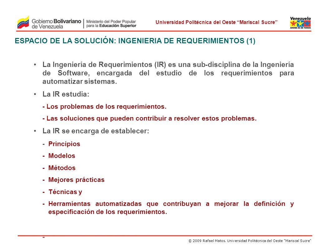 ESPACIO DE LA SOLUCIÓN: INGENIERIA DE REQUERIMIENTOS (1)
