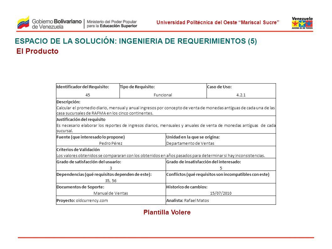 ESPACIO DE LA SOLUCIÓN: INGENIERIA DE REQUERIMIENTOS (5) El Producto