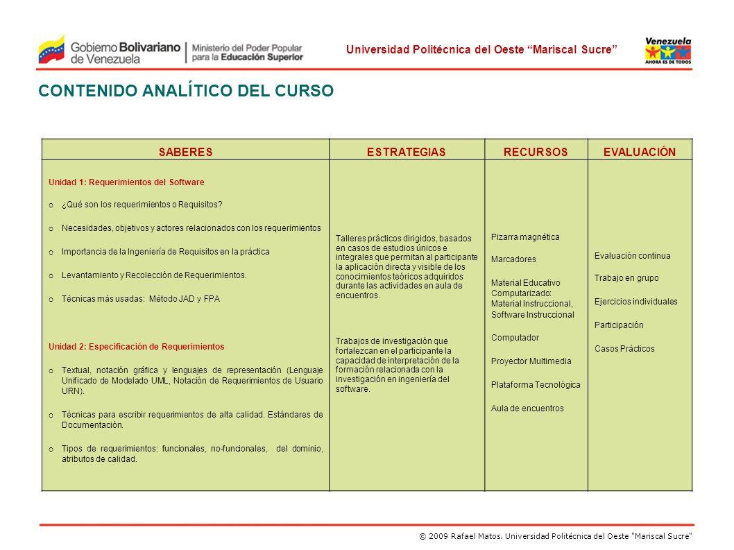 CONTENIDO ANALÍTICO DEL CURSO