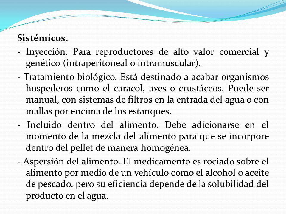 Sistémicos. - Inyección. Para reproductores de alto valor comercial y genético (intraperitoneal o intramuscular).