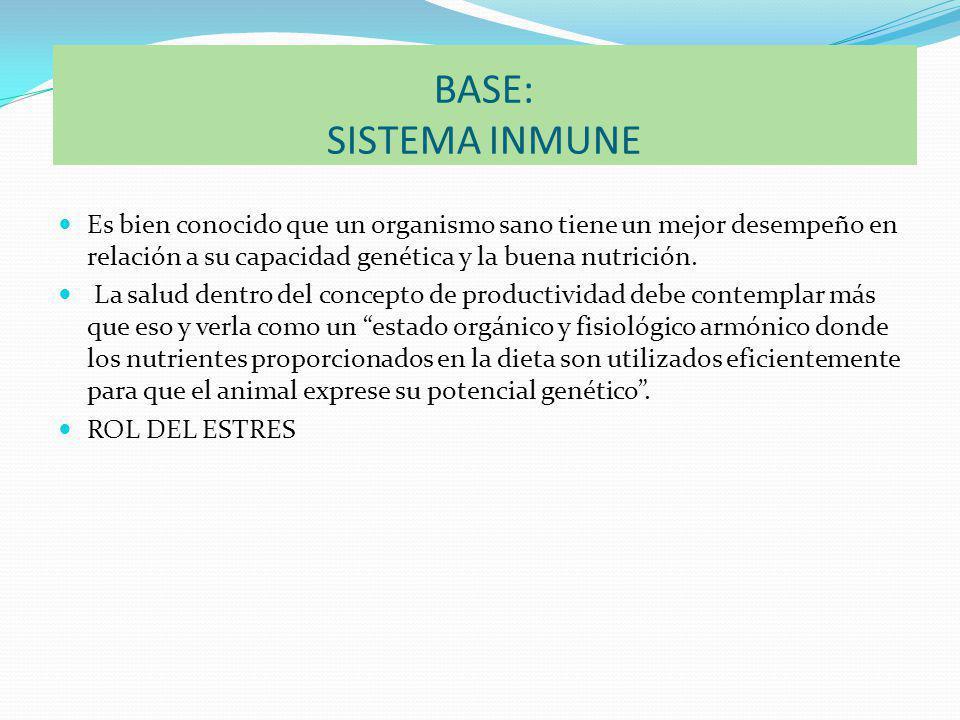 BASE: SISTEMA INMUNE Es bien conocido que un organismo sano tiene un mejor desempeño en relación a su capacidad genética y la buena nutrición.