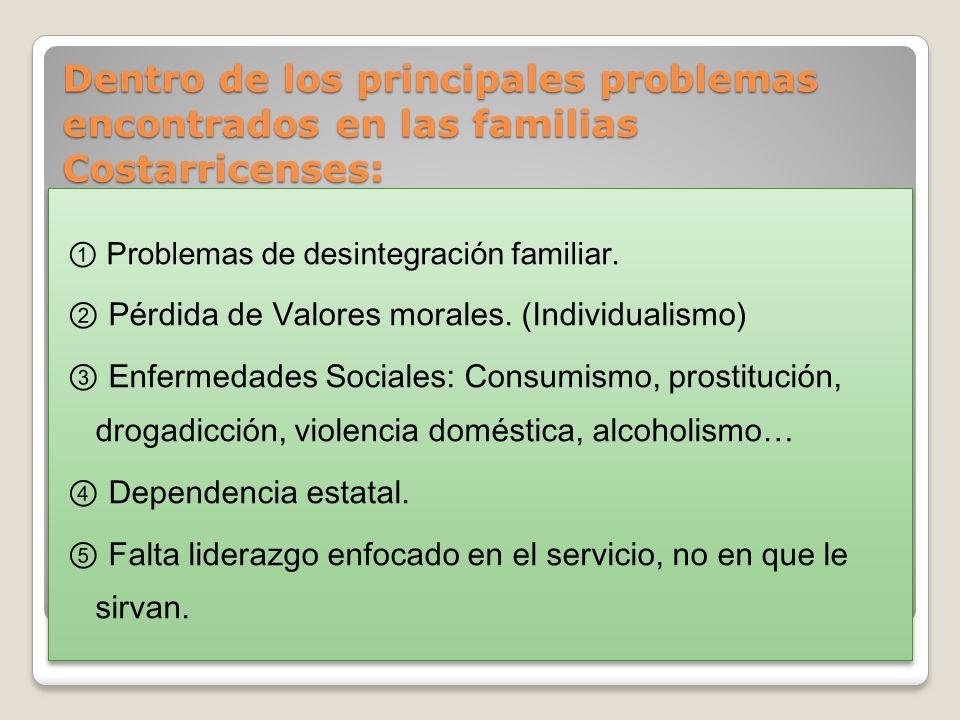 Dentro de los principales problemas encontrados en las familias Costarricenses: