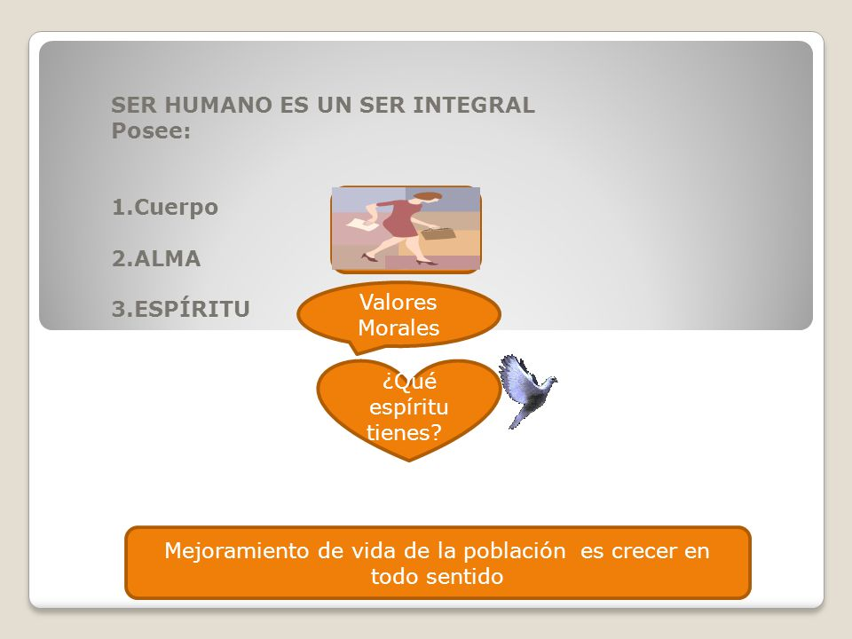 SER HUMANO ES UN SER INTEGRAL Posee: 1.Cuerpo 2.ALMA 3.ESPÍRITU
