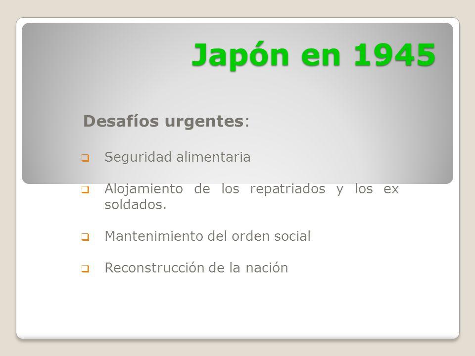 Japón en 1945 Desafíos urgentes: Seguridad alimentaria
