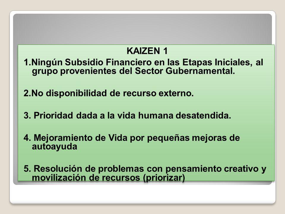 KAIZEN 1 1.Ningún Subsidio Financiero en las Etapas Iniciales, al grupo provenientes del Sector Gubernamental.