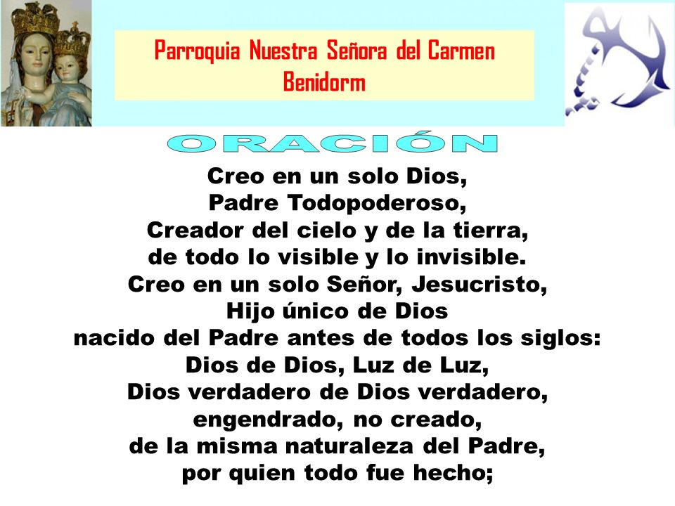 ORACIÓN Parroquia Nuestra Señora del Carmen Benidorm