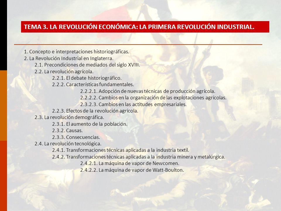 TEMA 3. LA REVOLUCIÓN ECONÓMICA: LA PRIMERA REVOLUCIÓN INDUSTRIAL.
