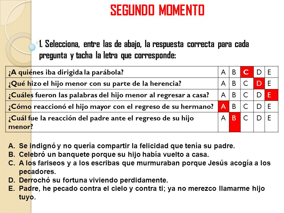 SEGUNDO MOMENTO1. Selecciona, entre las de abajo, la respuesta correcta para cada pregunta y tacha la letra que corresponde: