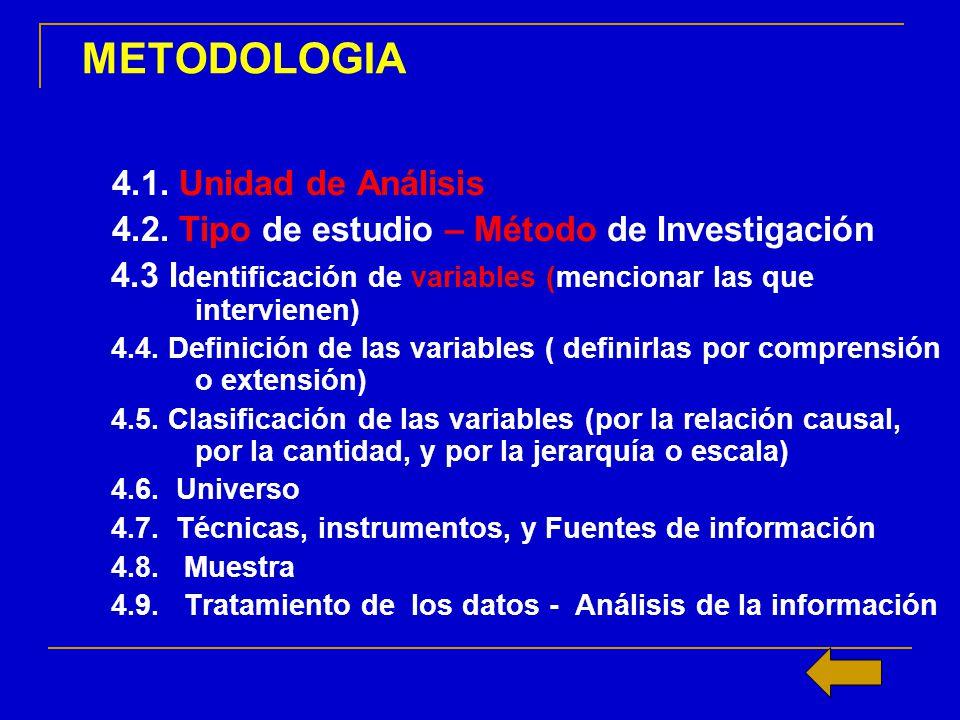 METODOLOGIA 4.1. Unidad de Análisis