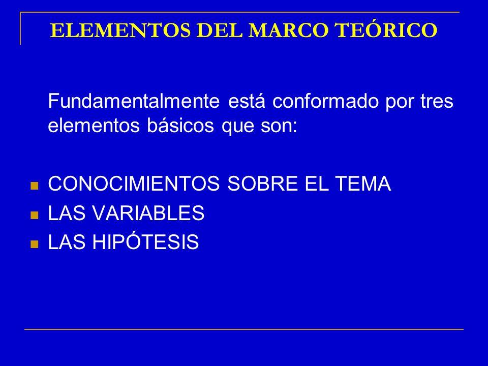 ELEMENTOS DEL MARCO TEÓRICO