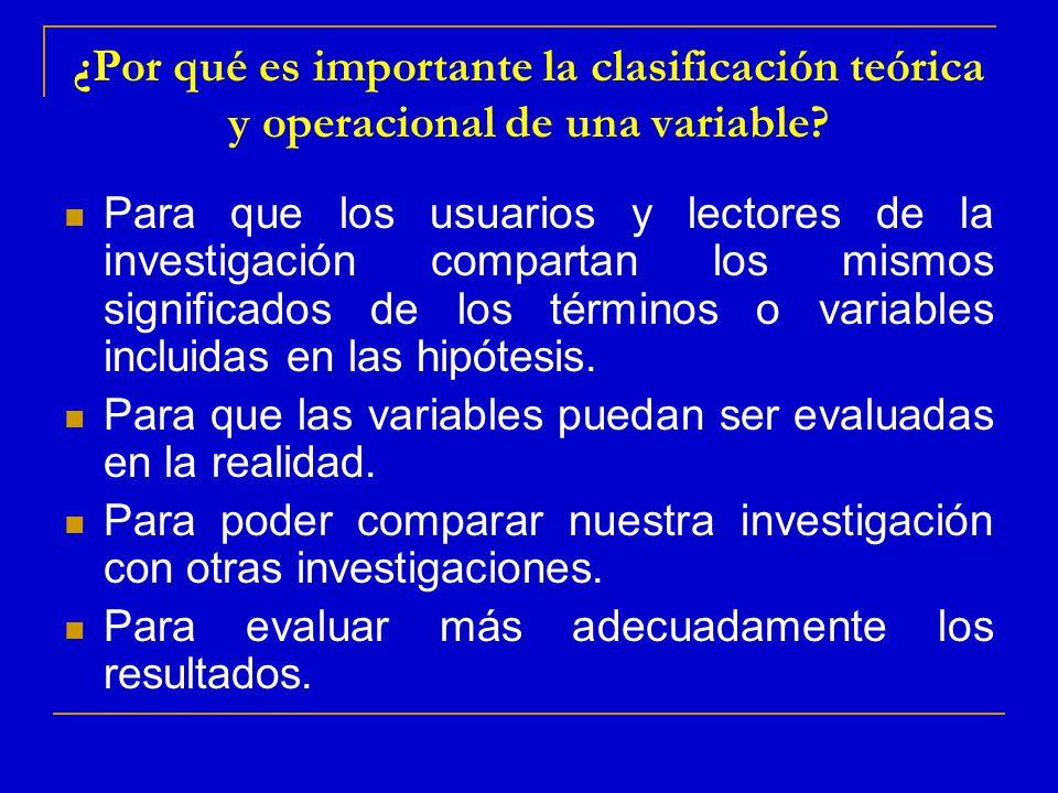 ¿Por qué es importante la clasificación teórica y operacional de una variable