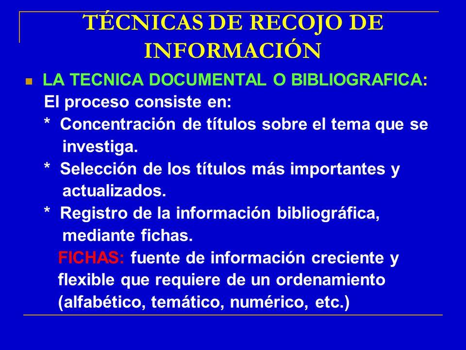 TÉCNICAS DE RECOJO DE INFORMACIÓN