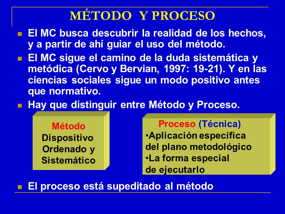 MÉTODO Y PROCESO El MC busca descubrir la realidad de los hechos, y a partir de ahí guiar el uso del método.