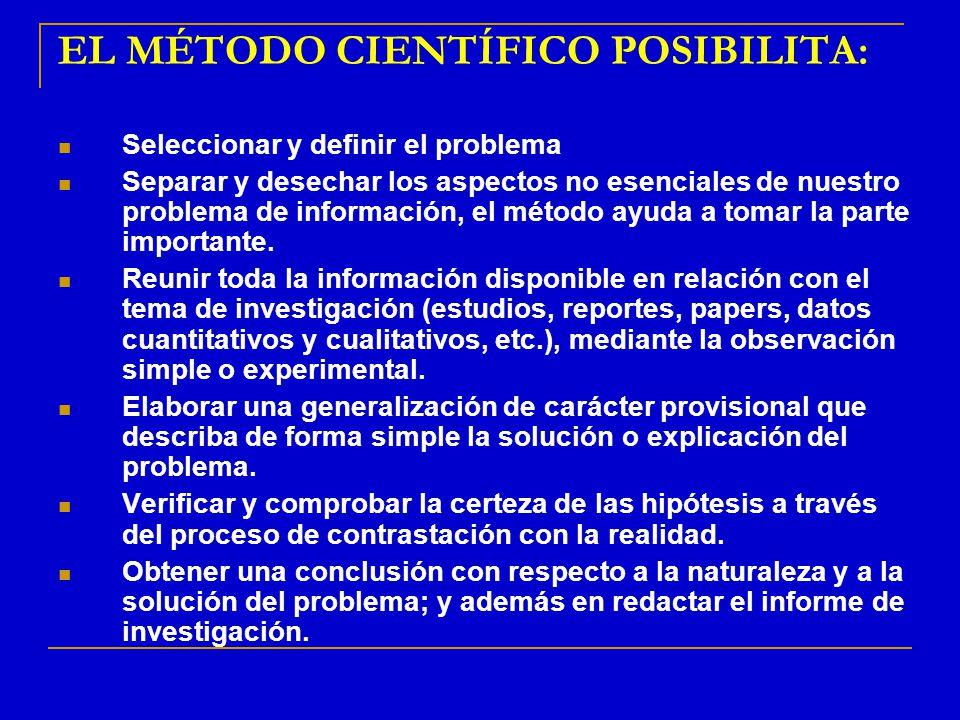 EL MÉTODO CIENTÍFICO POSIBILITA: