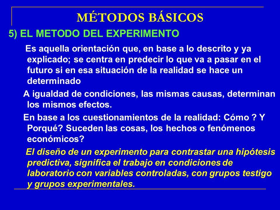 MÉTODOS BÁSICOS 5) EL METODO DEL EXPERIMENTO: