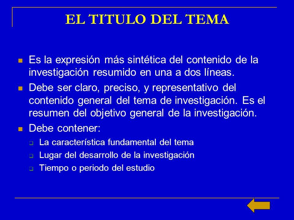 EL TITULO DEL TEMA Es la expresión más sintética del contenido de la investigación resumido en una a dos líneas.