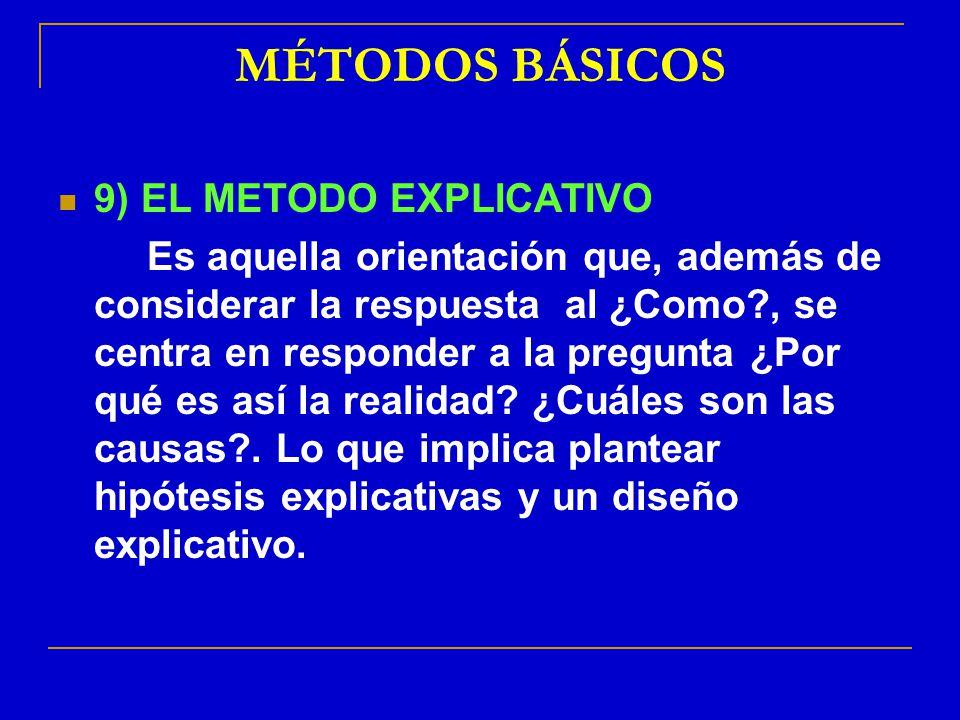 MÉTODOS BÁSICOS 9) EL METODO EXPLICATIVO