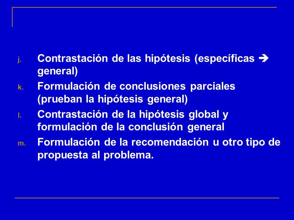 Contrastación de las hipótesis (específicas  general)