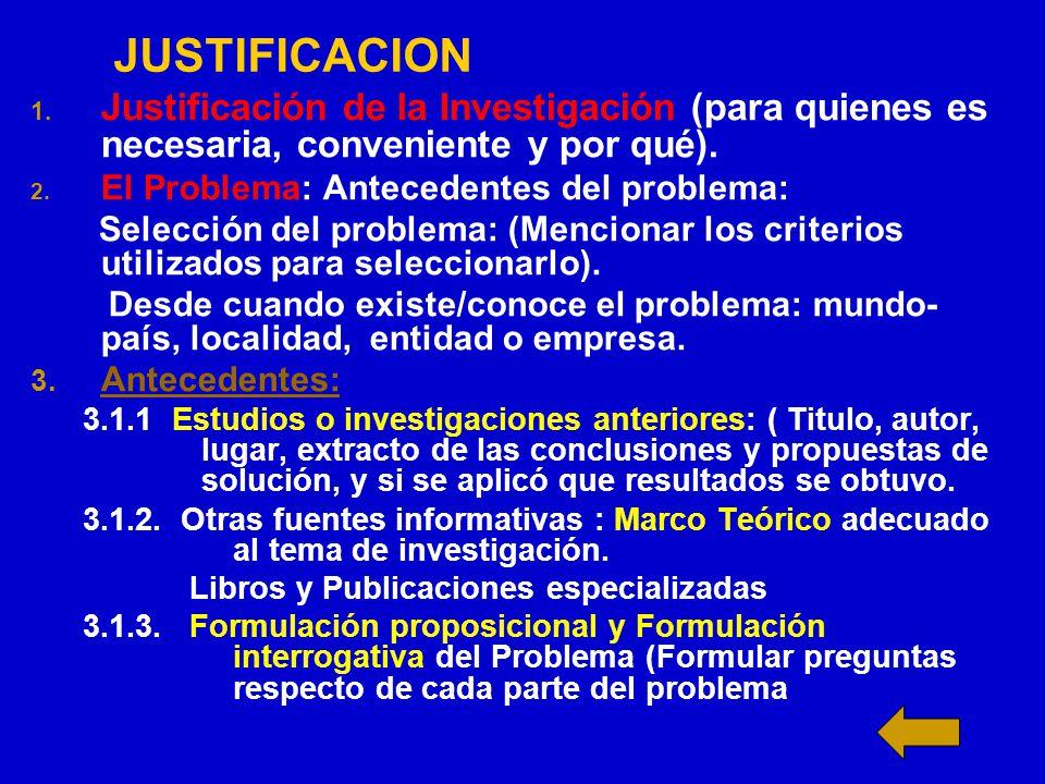 JUSTIFICACION Justificación de la Investigación (para quienes es necesaria, conveniente y por qué).