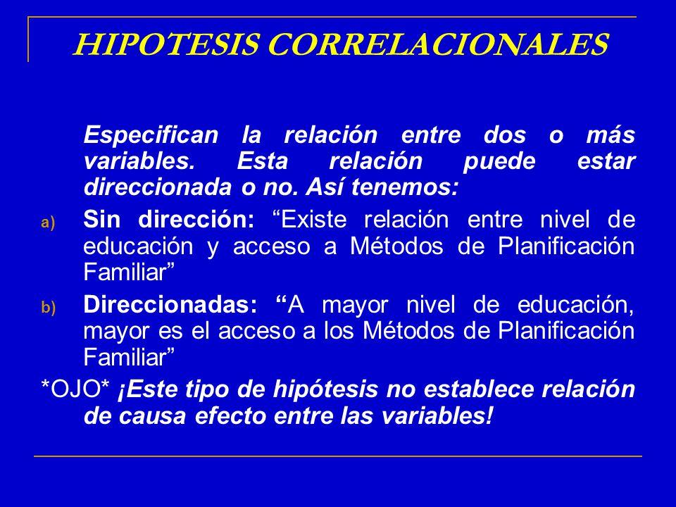HIPOTESIS CORRELACIONALES