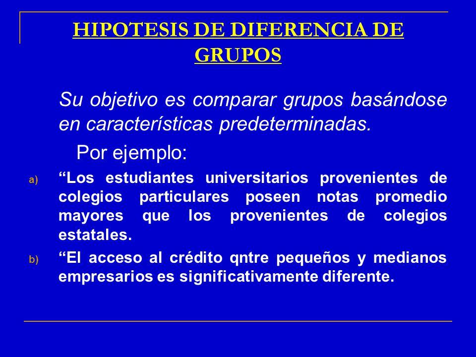 HIPOTESIS DE DIFERENCIA DE GRUPOS