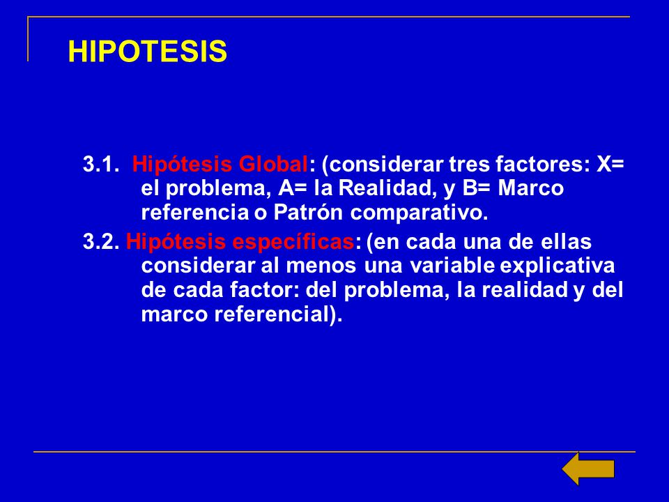 HIPOTESIS 3.1. Hipótesis Global: (considerar tres factores: X= el problema, A= la Realidad, y B= Marco referencia o Patrón comparativo.