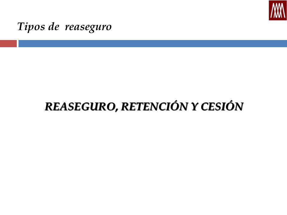 Tipos de reaseguro REASEGURO, RETENCIÓN Y CESIÓN