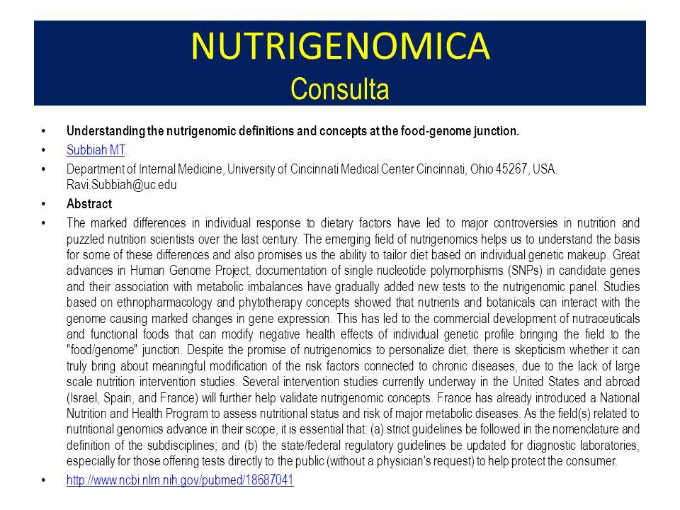 NUTRIGENOMICA Consulta