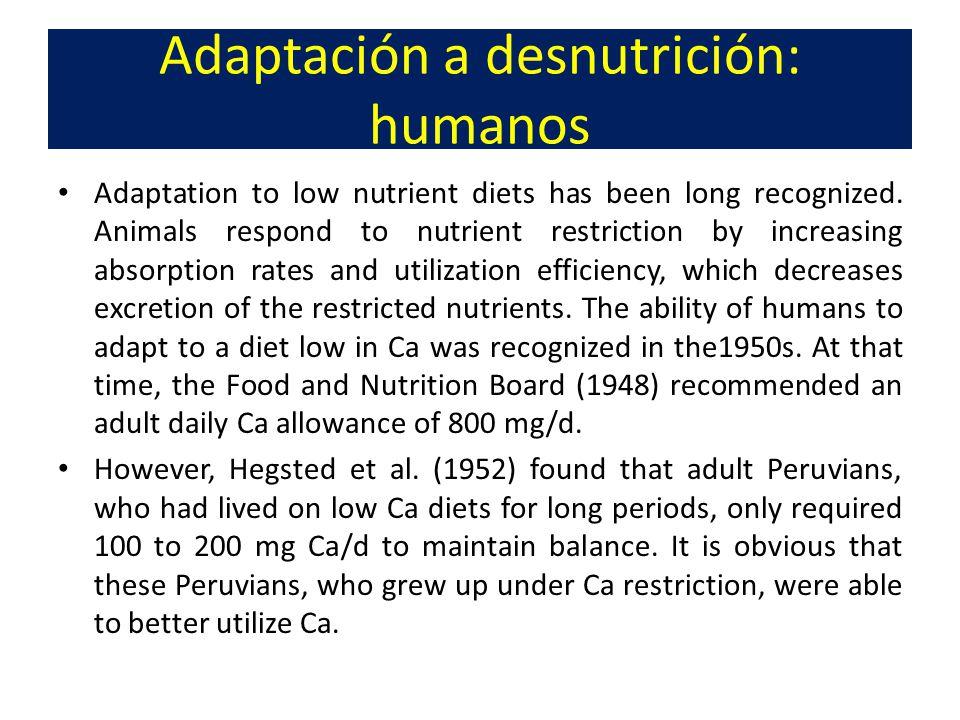 Adaptación a desnutrición: humanos