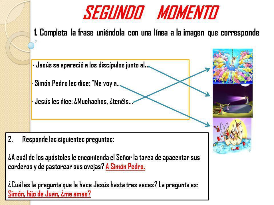SEGUNDO MOMENTO1. Completa la frase uniéndola con una línea a la imagen que corresponde. · Jesús se apareció a los discípulos junto al...