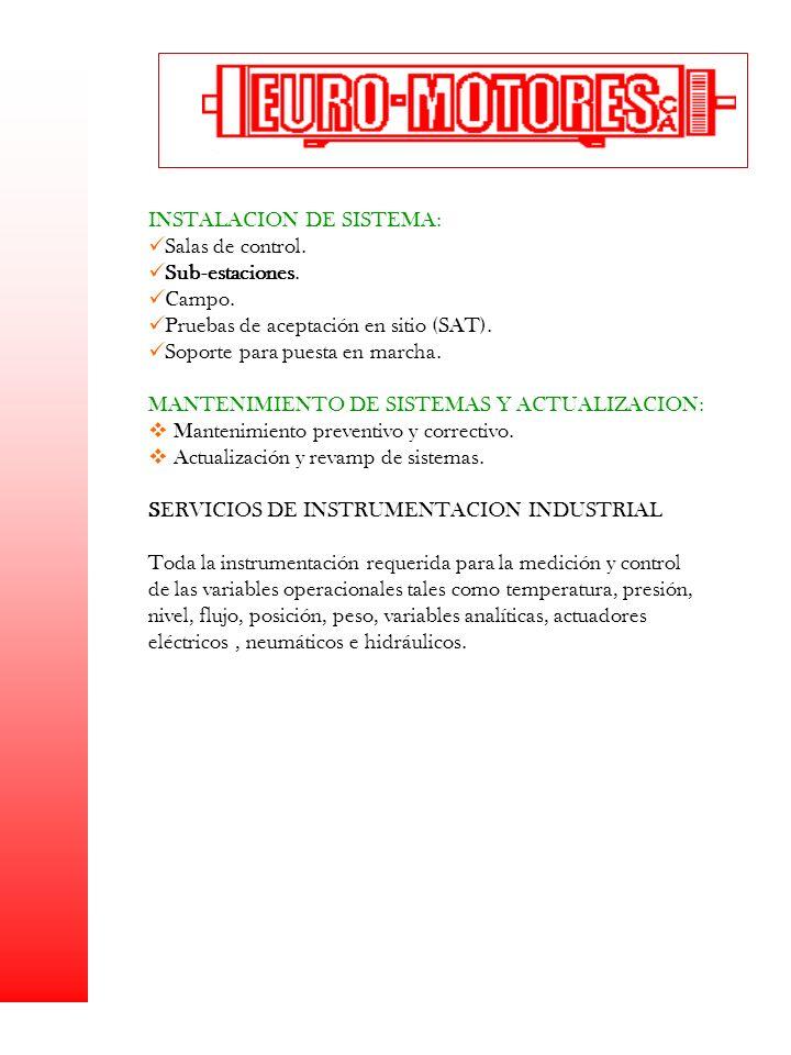 INSTALACION DE SISTEMA: Salas de control. Sub-estaciones. Campo.