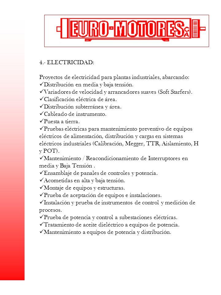 Proyectos de electricidad para plantas industriales, abarcando: