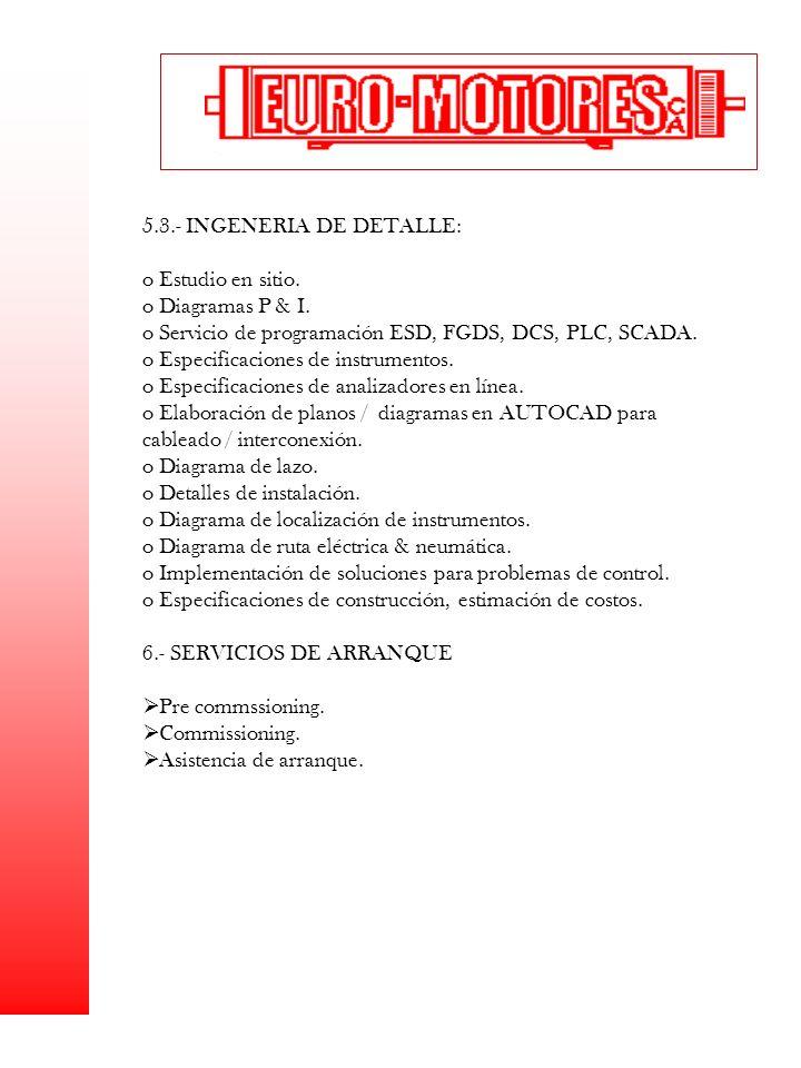 5.3.- INGENERIA DE DETALLE: Estudio en sitio. Diagramas P & I.