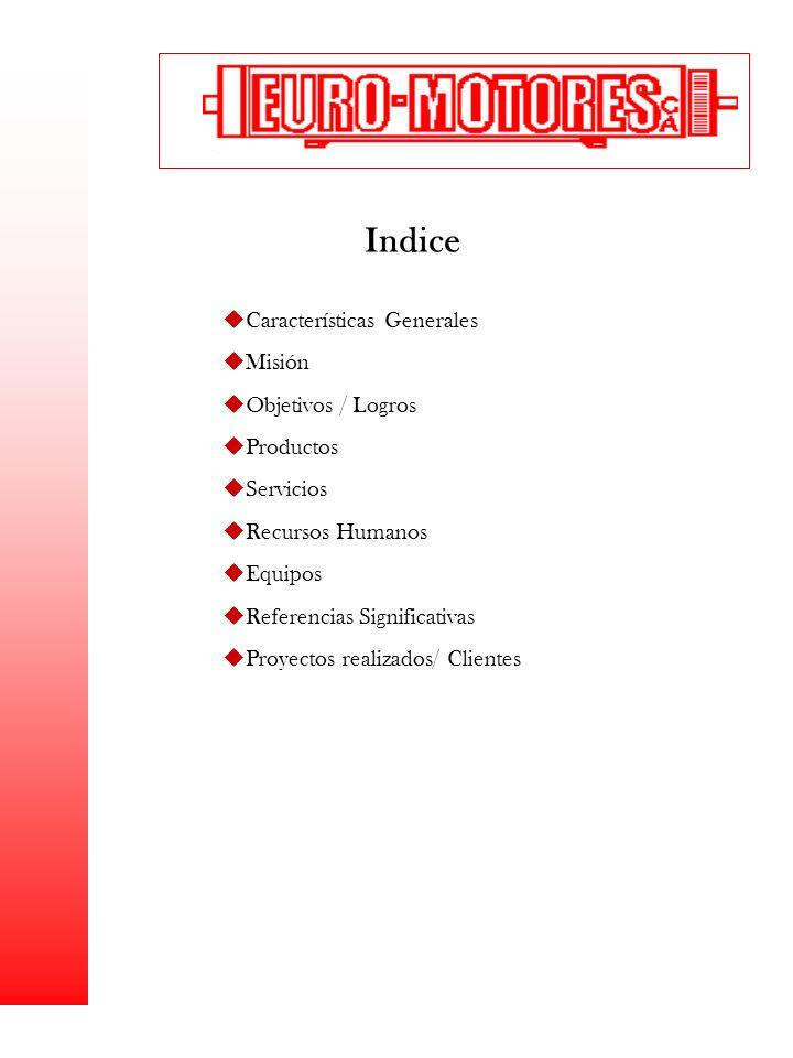 Indice Características Generales Misión Objetivos / Logros Productos