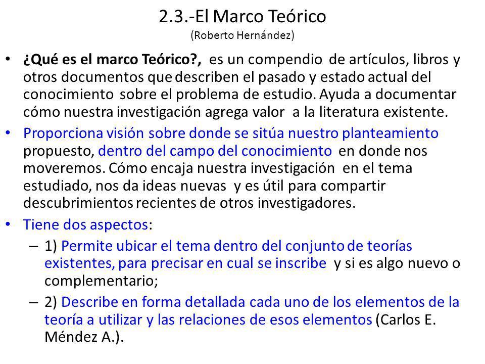 2.3.-El Marco Teórico (Roberto Hernández)